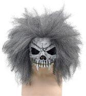 Halloween Half schedel masker met grijs haar