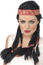 Inheemse prinsessen pruik - Hoofdband met vlechtjes - Zwart