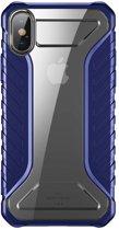 Baseus iPhone XS Max (Plus) Hybrid Tank Cover Case Blue hoesje