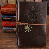 KELERINO. vintage Lederen Notitieboek met windroos  - Koffiekleur