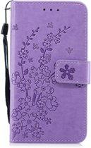 Apple Iphone 7 / 8 Bookcase hoesje paars met bloemen/takjes