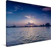 Skyline Wuhan Canvas 30x20 cm - klein - Foto print op Canvas schilderij (Wanddecoratie woonkamer / slaapkamer) / Aziatische steden Canvas Schilderijen