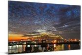 Horace Wilkinson brug met wolkenformaties in het Amerikaanse Baton Rouge Aluminium 180x120 cm - Foto print op Aluminium (metaal wanddecoratie) XXL / Groot formaat!