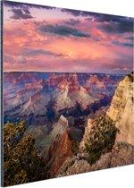 Zonsondergang Grand Canyon Aluminium 90x60 cm - Foto print op Aluminium (metaal wanddecoratie)