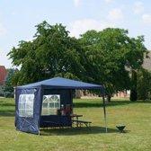Partytent 3x3, BLAUW - 2 zijwanden, party tent, festival, tuin paviljoen