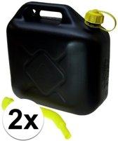 2x Jerrycan zwart - 20 liter - inclusief schenktuit