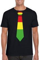 Zwart t-shirt met Limburgse kleuren stropdas heren - Carnaval shirts 2XL