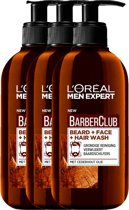 L'Oréal Men Expert BarberClub beard + face + hair wash - 3 x 200 ml - Voordeelverpakking