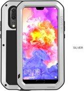 Metalen fullbody hoes voor Huawei P20, Love Mei, metalen extreme protection case, zwart-grijs
