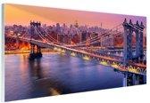 FotoCadeau.nl - Brooklyn Bridge New York Glas 60x40 cm - Foto print op Glas (Plexiglas wanddecoratie)