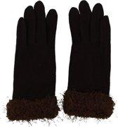 Handschoenen met Band - Wol en Polyester - Donkerbruin - Dielay