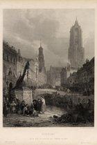 Plaat van de Domtoren en Oude gracht: Utrecht, from the picture in the Vernon gallery (reproductie)