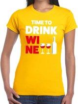 Time to drink Wine tekst t-shirt geel dames - dames shirt Time to drink Wine 2XL