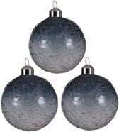 Glas Kerstballen Frozen (8,5cm) Box 3 Stuks Grey
