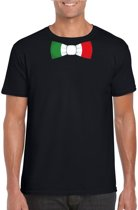 Zwart t-shirt met Italiaanse vlag strikje heren - Italie supporter S