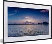 Foto in lijst - Skyline Wuhan fotolijst zwart met witte passe-partout 60x40 cm - Poster in lijst (Wanddecoratie woonkamer / slaapkamer)
