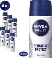 NIVEA MEN Sensitive Protect Deodorant Spray - 6 x 150 ml - Voordeelverpakking