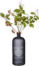 relaxdays - decoratieve fles met opdruk - zwart - vloer vaas - bloemenvaas