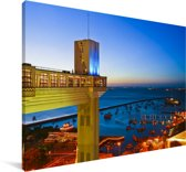Lacerda-lift in de kust van Salvador in Brazilië Canvas 120x80 cm - Foto print op Canvas schilderij (Wanddecoratie woonkamer / slaapkamer)