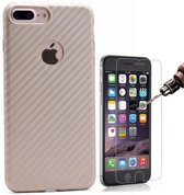Teleplus iPhone 6 3D Fiber Carbon Silicone Case Gold + Glass Screen Protector hoesje