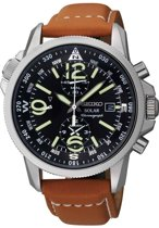 Seiko SSC081P1 -  Horloge - Leer - Bruin - Ø 39 mm