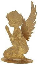 Metalen engel goud glitter knielend 16 cm
