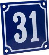 Emaille huisnummer blauw/wit nr. 31 10x10cm
