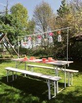 MaximaVida decoratieframe met tafelklem wit tot 250 cm lengte- deluxe uitvoering