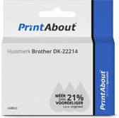 Huismerk Brother DK-22214 Etiket Zwart op wit (12  mm)