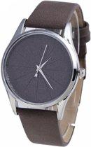 Basic quartz horloge - bruin - PU lederen band - 40 mm - I-deLuxe verpakking