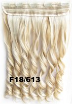 Clip in hair extensions 1 baan wavy blond - F18/613