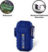 Plasmatix™ Plasma Aansteker Outdoor Explorer - Waterdicht -  Volledig Elektrisch - USB Oplaadbaar - Vuurwerk - Blauw