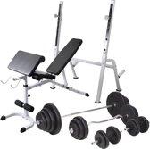 vidaXL Trainingsbank met gewichtenrek en halterset 120 kg
