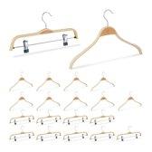 relaxdays 20er kledinghangers set - 2 modellen - klerenhangers - broekhangers – hout