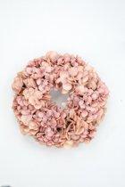 Viv! Home Luxuries Hortensia krans - zijde - zalm roze - herfst - 30cm - topkwaliteit