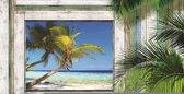 Fotobehang Strand | Groen, Grijs | 416x254