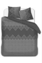 Flanel dekbedovertrek Puzzle grijs 140 x 220 met kussensloop