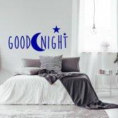 Muursticker Goodnight -  Donkerblauw -  120 x 60 cm  - Muursticker4Sale