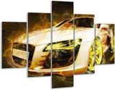Glasschilderij Audi | Geel, Wit, Groen | 100x70cm 5Luik | Foto print op Glas |  F004597