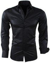 Montazinni - Heren Overhemd - Geruit - Kreuk en Strijkvrij - Slim Fit - Zwart