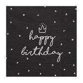 Servetten Happy Birthday Zwart / Wit 20 stuks