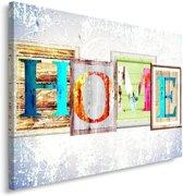 Schilderij - Home in verschillende kleuren, tekst