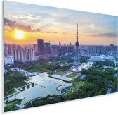 Kleurrijke zonsondergang in het Aziatische Foshan Plexiglas 160x120 cm - Foto print op Glas (Plexiglas wanddecoratie) XXL / Groot formaat!