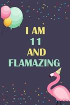 I'm 11 and Flamazing: Flamingo Tropical Bird on a Dark Navy Background Birthday Gift for an 11 Year Old Girl (6x9'' 100 Wide Lined & Blank Pa