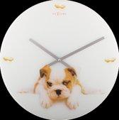 NeXtime Wandklok Puppy - Wit/Bruin