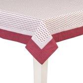 Clayre & Eef - Katoenen tafelkleed - tafellaken - 100 x 100 cm - Met stippen en stipjes in wit met rood - DOT01R
