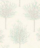 Nordic Elegance bomen wit/l.groen behang (vliesbehang, groen)