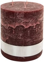 PTMD Kaars Rustic red Pillar 3 wick candle 18x16