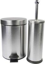 Pedaalemmer 3 liter met bijpassende toiletborstel - RVS - wc / toilet set