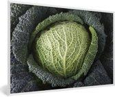 Foto in lijst - Donkergetinte mergkool met grote bladeren fotolijst wit 60x40 cm - Poster in lijst (Wanddecoratie woonkamer / slaapkamer)